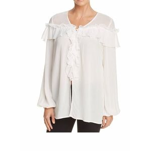 Band of Gypsies white ruffle long sleeve blouse XS